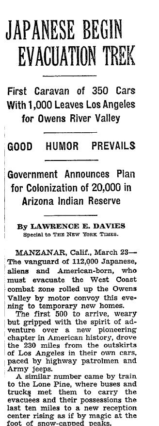 New York Times: Japanese Begin Evacuation Trek
