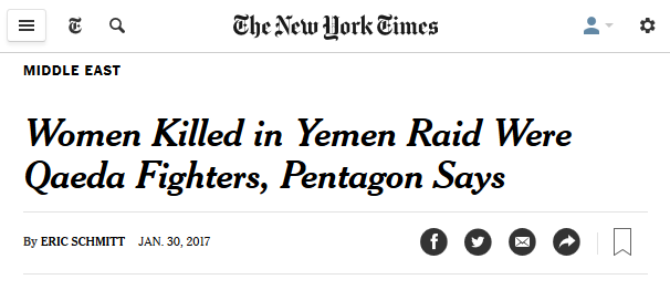 New York Times: Women Killed in Yemen Raid Were Qaeda Fighters, Pentagon Says