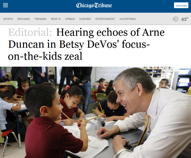 Chicago Tribune: Hearing echoes of Arne Duncan in Betsy DeVos' focus-on-the-kids zeal