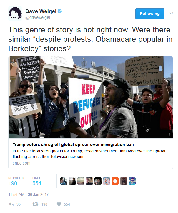 "Dave Weigel: Were there similar ""despite protests, Obamacare popular in Berkeley"" stories?"