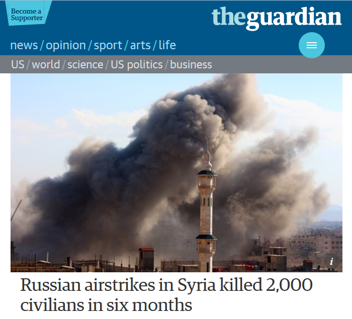 Guardian: Russian airstrikes in Syria killed 2,000 civilians in six months