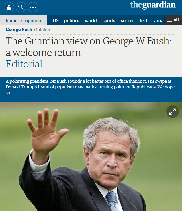 George W. Bush Now on Right Side of Press Corps's Nostalgia ...