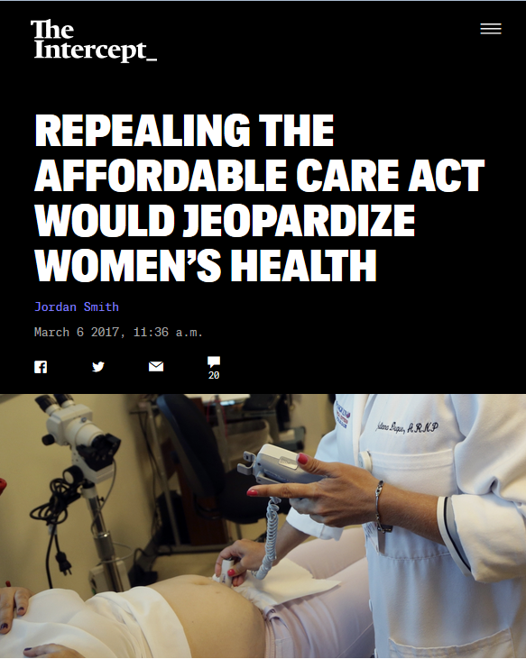 Intercept: Repealing the Affordable Care Act Would Jeopardize Women's Health