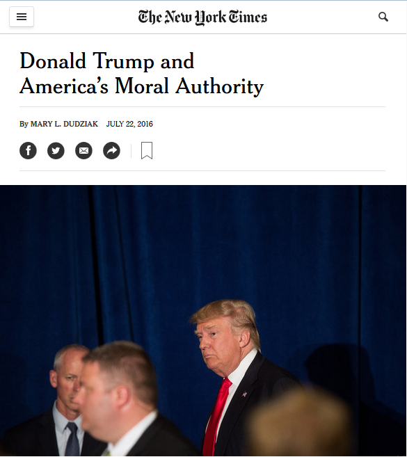 New York Times: Donald Trump and America's Moral Authority