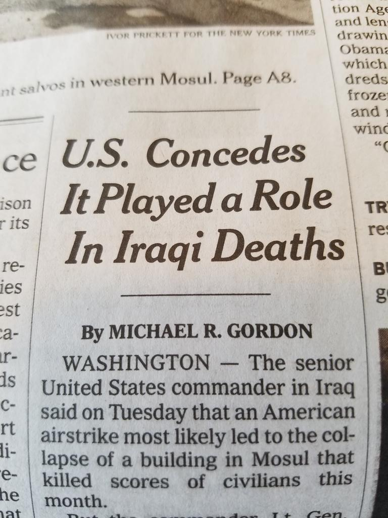 New York Times: US Concedes It Played a Role in Iraqi Deaths