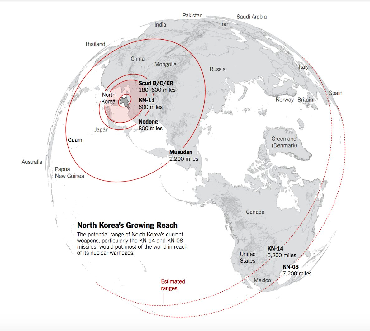 New York Times map of supposed North Korean missile ranges