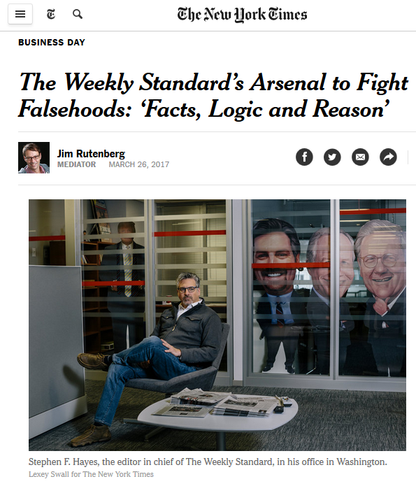 NYT: The Weekly Standard's Arsenal to Fight Falsehoods: 'Facts, Logic and Reason'