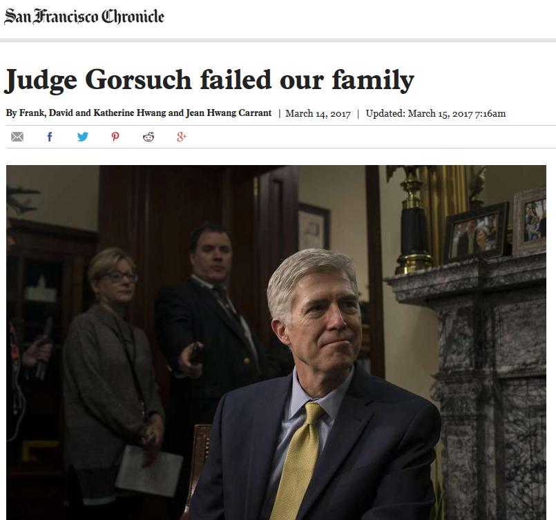 San Francisco Chronicle: Judge Gorsuch Failed Our Family