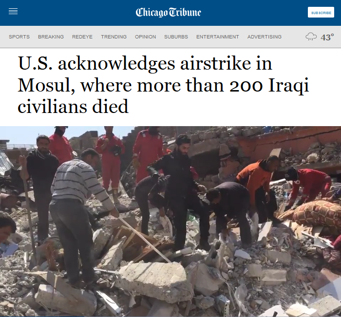 Chicago Tribune: U.S. acknowledges airstrike in Mosul, where more than 200 Iraqi civilians died