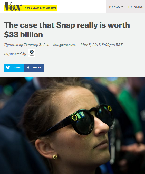 Vox The Case That Snap Really Is Worth $33 Billion