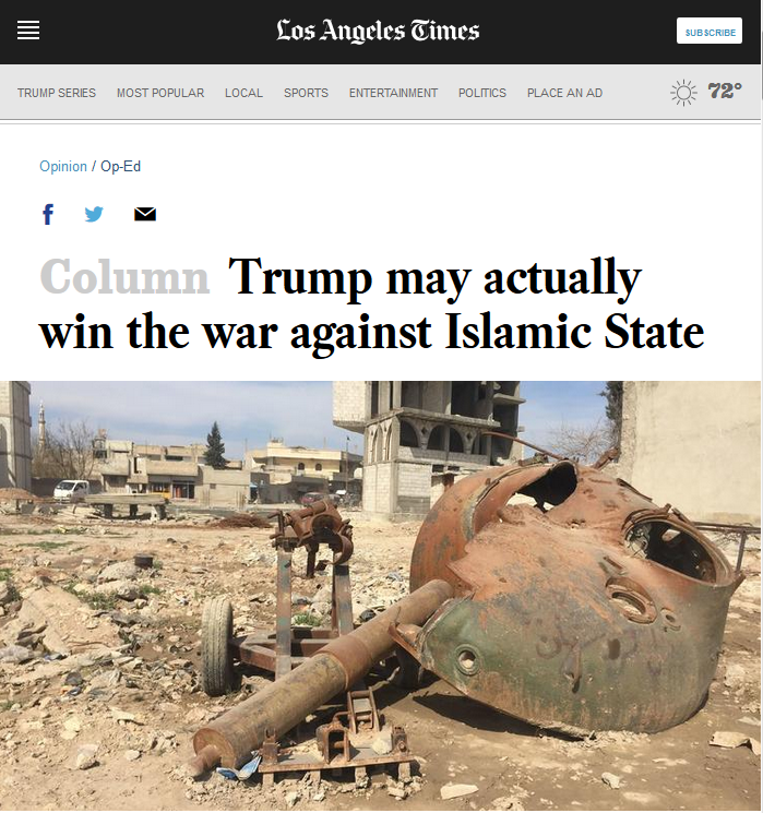 LA Times: Trump may actually win the war against Islamic State