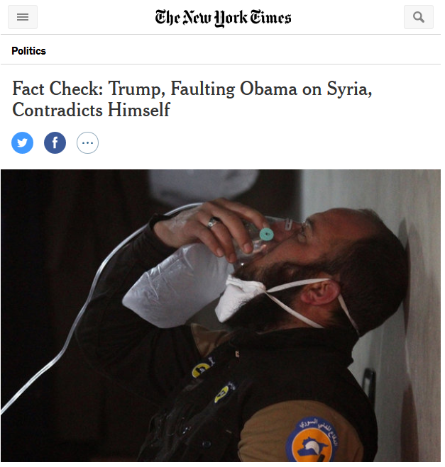 NYT: Fact Check: Trump, Faulting Obama on Syria, Contradicts Himself