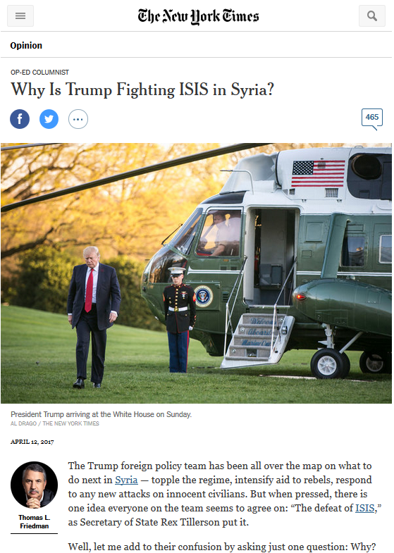 NYT: Why Is Trump Fighting ISIS in Syria?