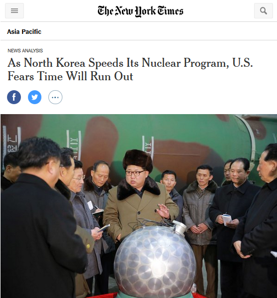 New York Times: As North Korea Speeds Its Nuclear Program, U.S. Fears Time Will Run Out
