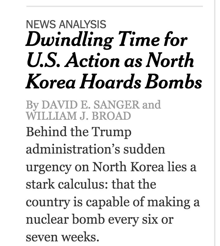 NYT: Dwindling Time for US Action as North Korea Hoards Bombs