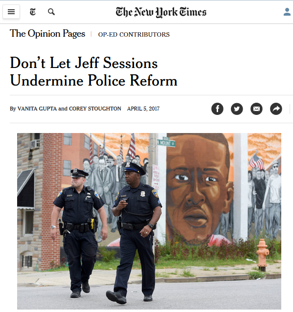 NYT: Don't Let Jeff Sessions Undermine Police Reform