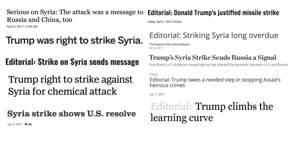 Headlines of Syria airstrike editorials
