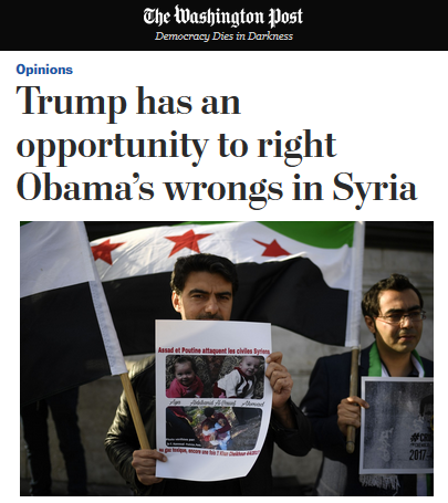 WaPo: Trump Has an Opportunity to Right Obama's Wrongs in Syria