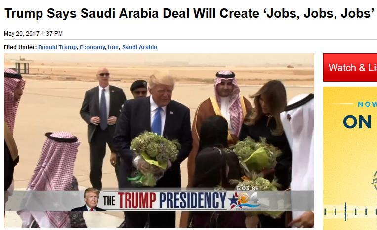CBS Miami: Trump Says Saudi Arabia Deal Will Create 'Jobs, Jobs, Jobs'