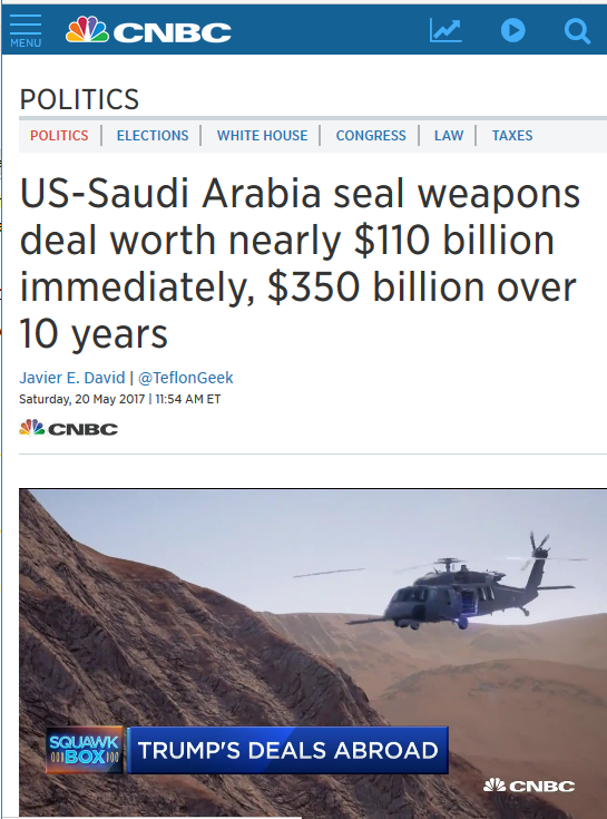 CNBC: US-Saudi Arabia seal weapons deal worth nearly $110 billion immediately, $350 billion over 10 years
