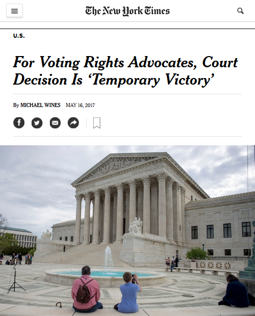 New York Times: For Voting Rights Advocates, Court Decision is 'Temporary Victory'