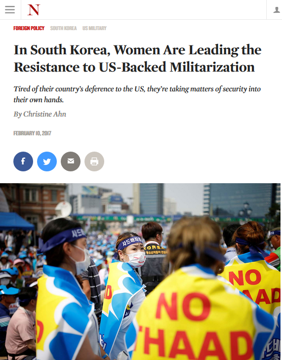 The Nation: In South Korea, Women Are Leading the Resistance to US-Backed Militarization