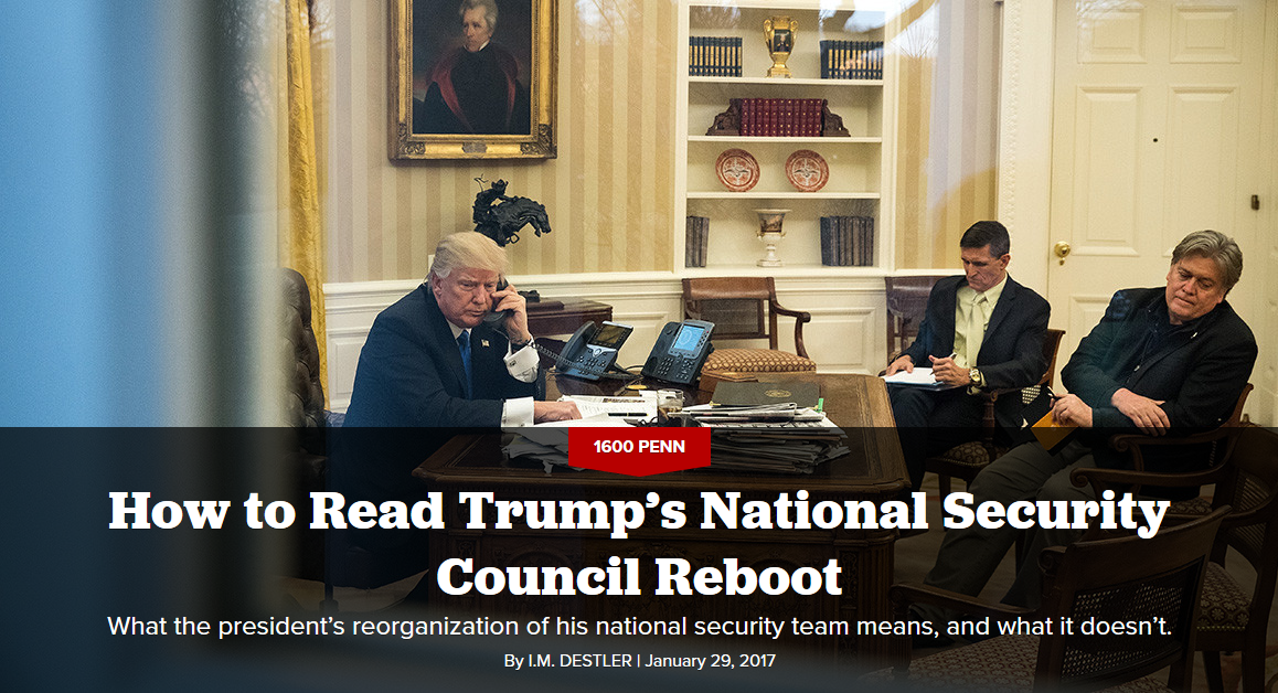 Politico: How to Read Trump's National Security Council Reboot