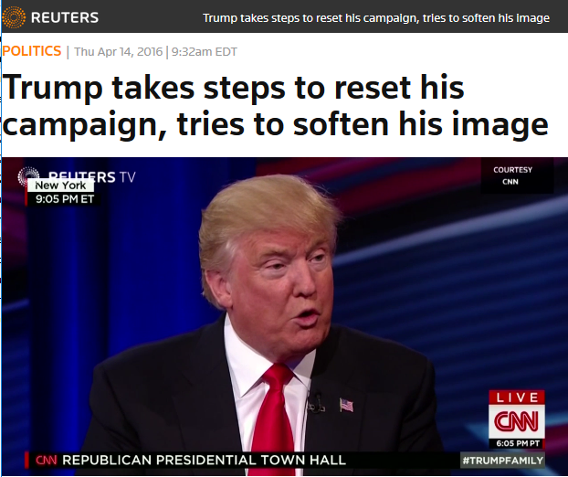 Reuters: Trump takes steps to reset his campaign, tries to soften his image