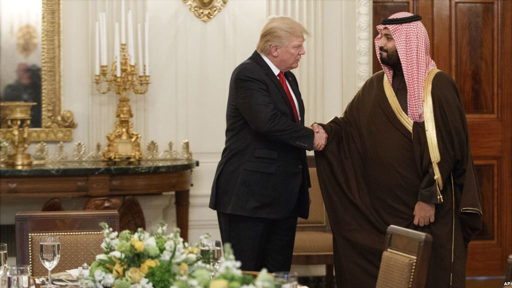 Donald Trump meets with Saudi Defense Minister Mohammed bin Salman (AP Photo/Evan Vucci)