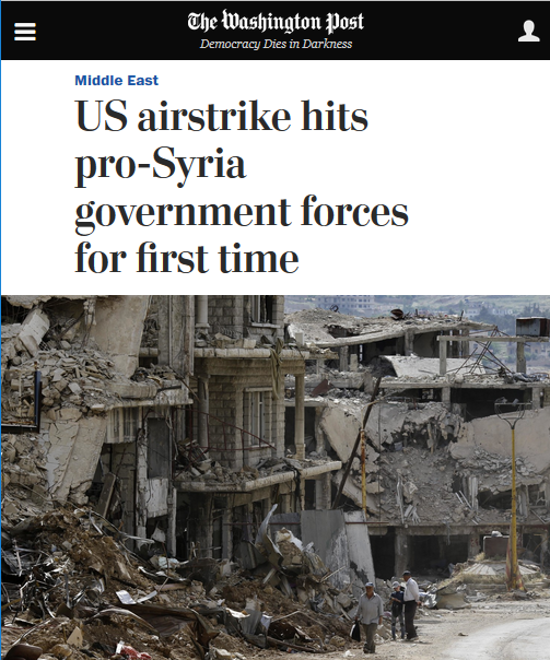 WaPo: US airstrike hits pro-Syria government forces for first time