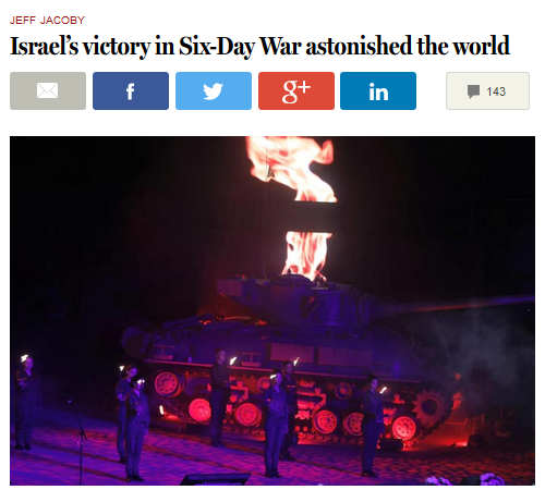 Boston Globe: Israel's victory in Six-Day War astonished the world