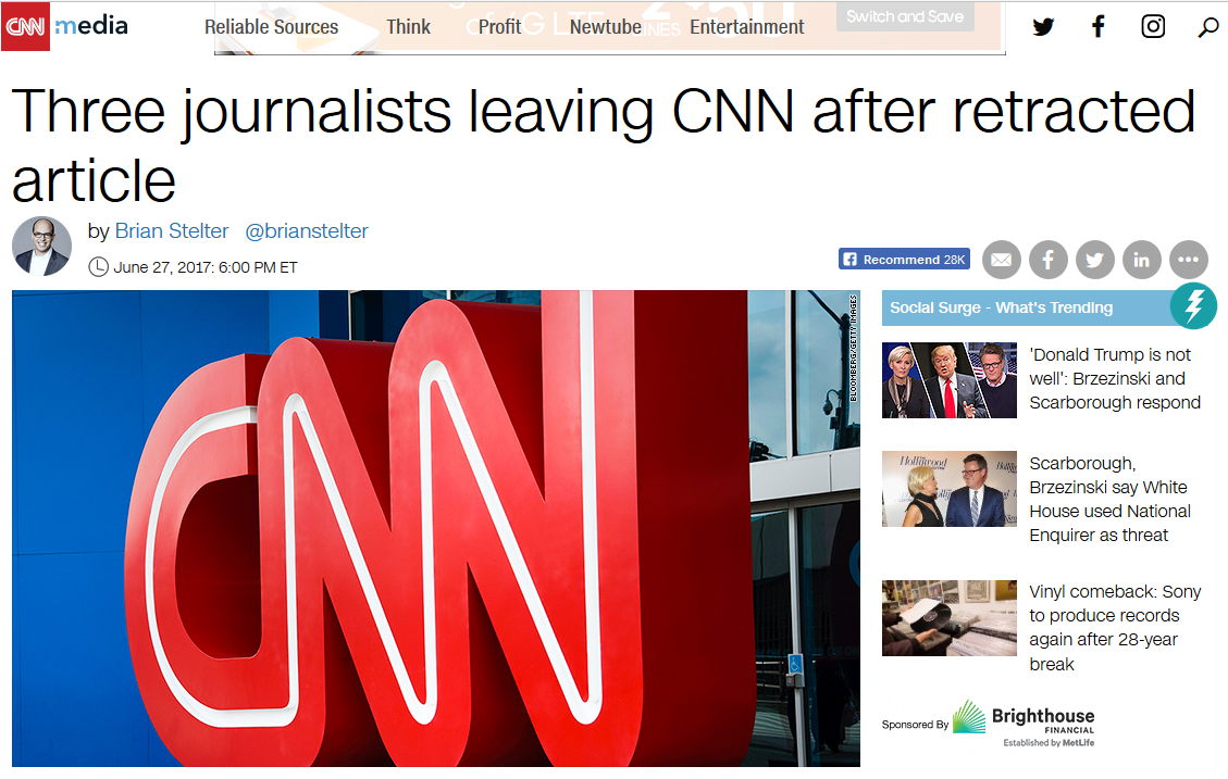 CNN: Three journalists leaving CNN after retracted article