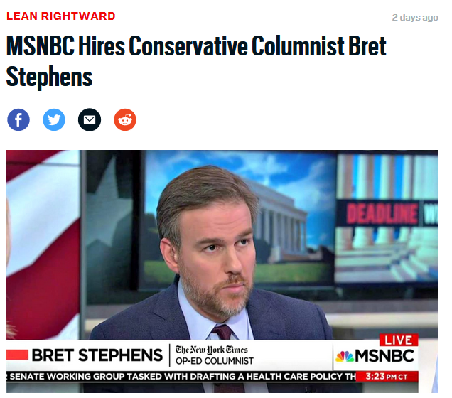 Daily Beast: MSNBC Hires Conservative Columnist Bret Stephens