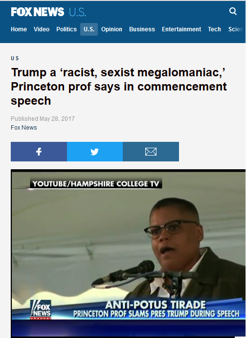 Fox News: Trump a 'racist, sexist megalomaniac,' Princeton prof says in commencement speech