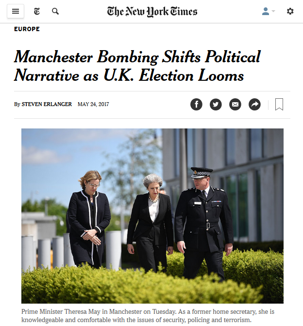 NYT: Manchester Bombing Shifts Political Narrative as U.K. Election Looms