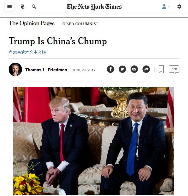 NYT: Turmp Is China's Trump