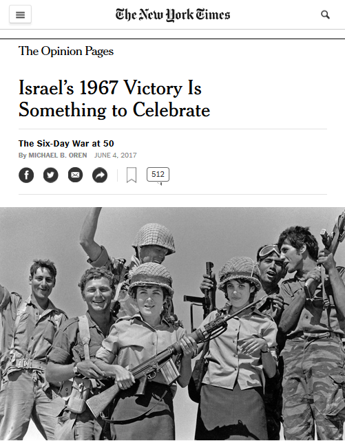 New York Times: Israel's 1967 Victory Is Something to Celebrate