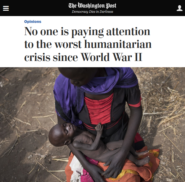 Washington Post: No one is paying attention to the worst humanitarian crisis since World War II