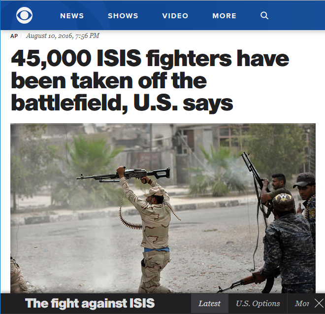 AP (via CBS): 45,000 ISIS fighters have been taken off the battlefield, U.S. says