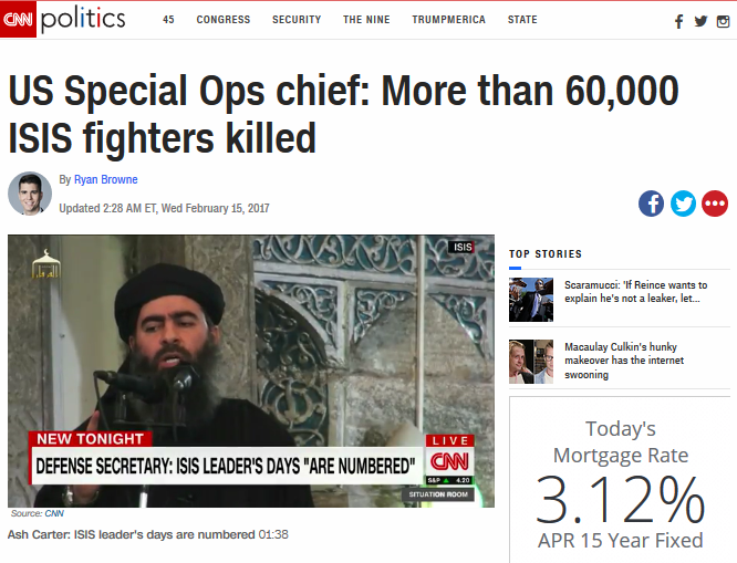CNN: US Special Ops chief: More than 60,000 ISIS fighters killed
