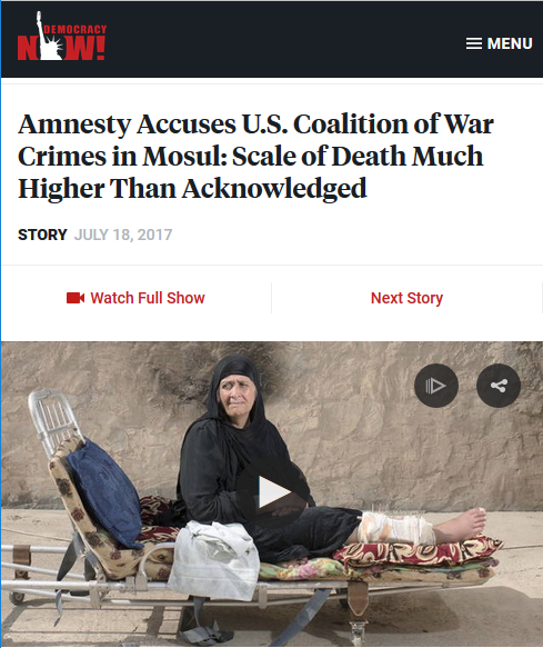 Democracy Now!: Amnesty Accuses U.S. Coalition of War Crimes in Mosul
