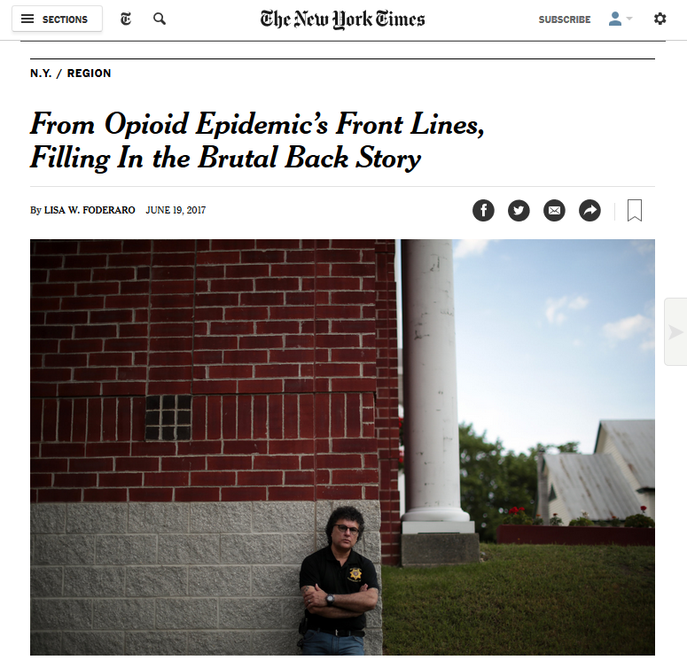 NYT: From Opioid Epidemic's Front Lines, Filling In the Brutal Back Story