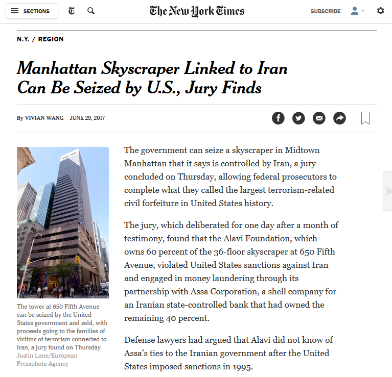 NYT: Manhattan Skyscraper Linked to Iran Can Be Seized by U.S., Jury Finds