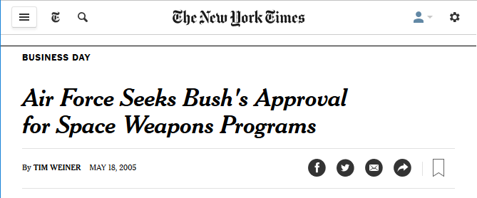 NYT: Air Force Seeks Bush's Approval for Space Weapons Programs