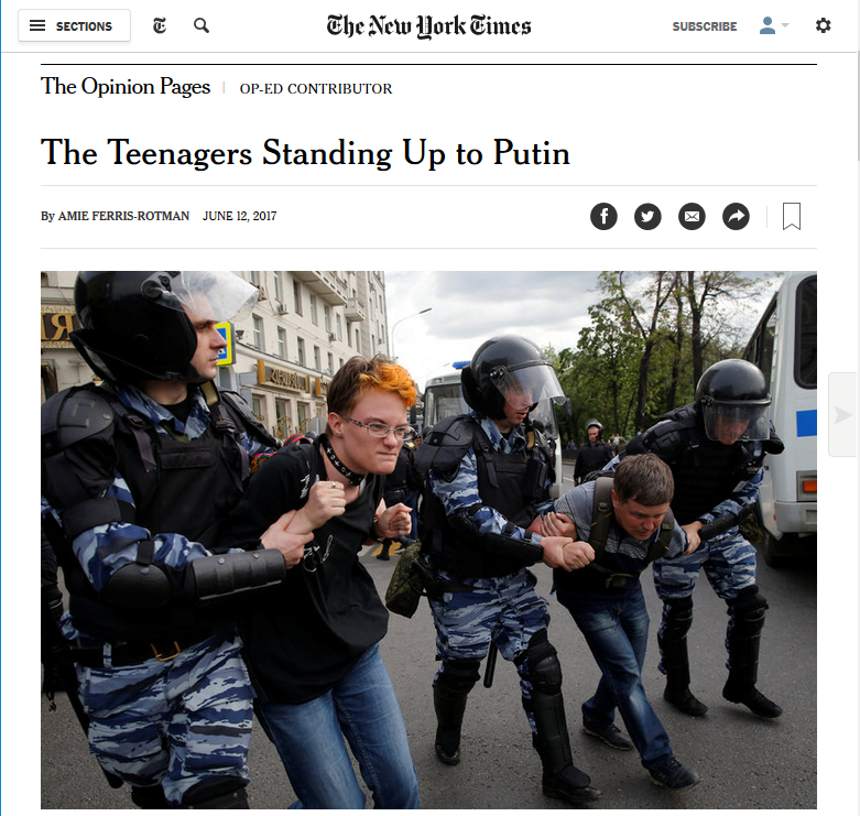 NYT: The Teenagers Standing Up to Putin