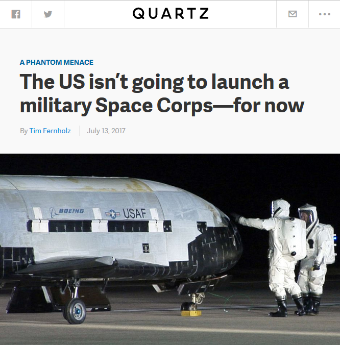 Quartz: The US isn't going to launch a military Space Corps—for now