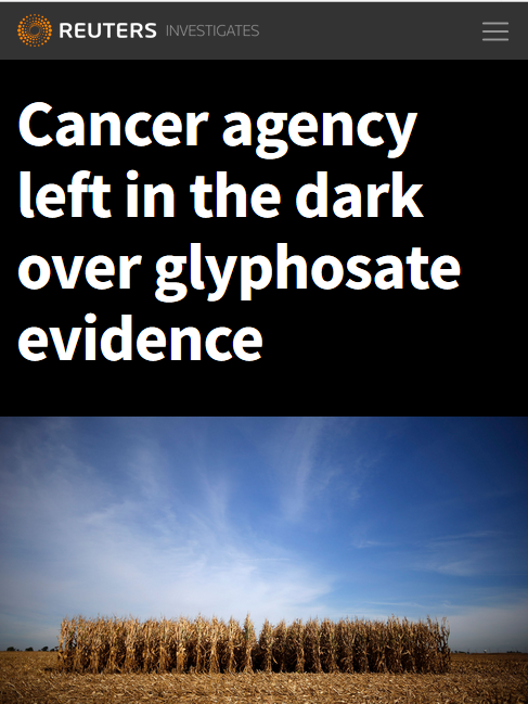 Reuters: Cancer agency left in the dark over glyphosate evidence