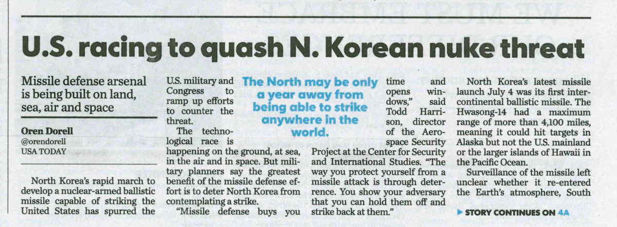 USA Today: US Racing to Quash N Korea Nuke Threat