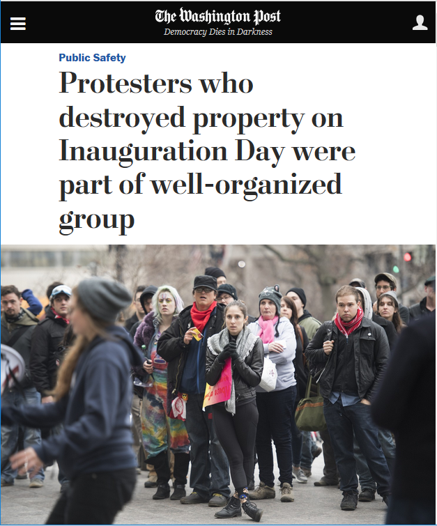 WaPo: Protesters who destroyed property on Inauguration Day were part of well-organized group