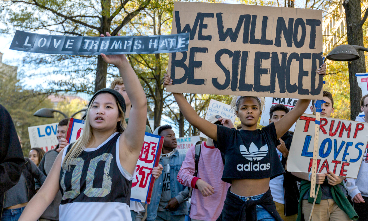 Anti-Trump protesters in DC (cc photo: Lorie Shaull)